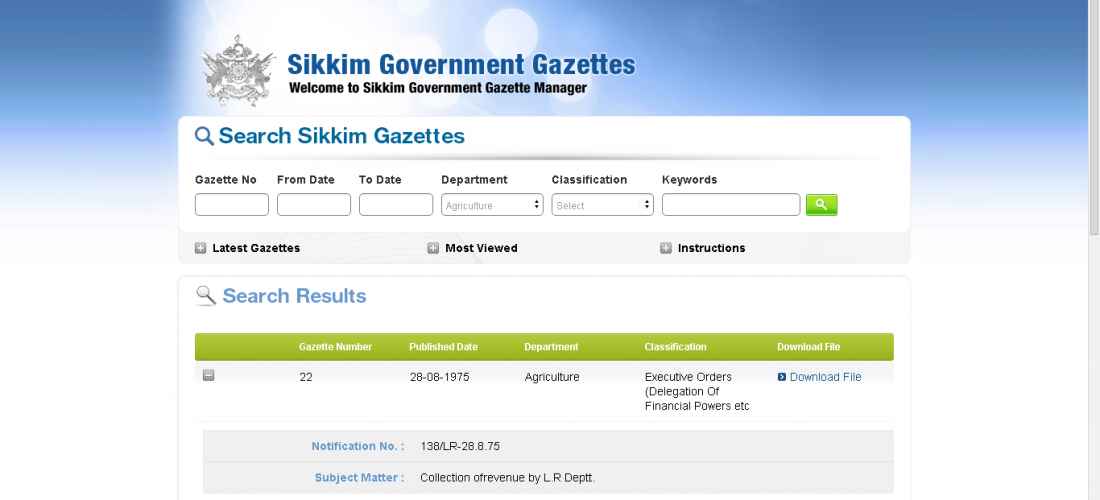 Sikkim Gazettes
